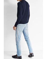 Alexander McQueen - Blue Wool Pullover With Shoulder Detail for Men - Lyst