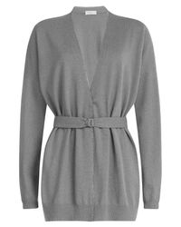 Brunello Cucinelli - Gray Cashmere Cardigan With Bead Embellishment - Lyst
