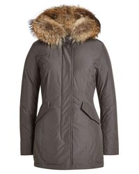 Woolrich | Gray Arctic Down Parka With Fur-trimmed Hood | Lyst