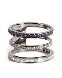 Nikos Koulis - Metallic 18kt Blackened Gold Ring With Sapphires And White Diamonds - Lyst