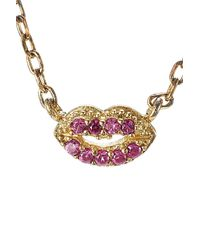 Marc Jacobs - Metallic Embellished Sterling Silver Lips Necklace - Lyst