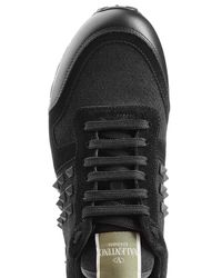 Valentino - Black Rockstud Sneakers With Leather And Suede for Men - Lyst