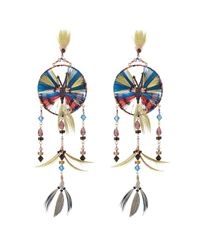 Valentino | Blue Feather And Bead Embellished Earrings - Multicolor | Lyst