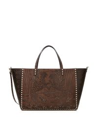Valentino | Embellished And Embossed Rockstud Tote - Brown | Lyst