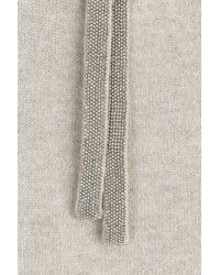 Brunello Cucinelli - Gray Cashmere Pullover With Embellishment - Grey - Lyst
