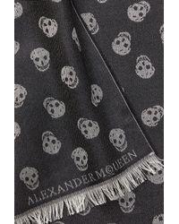 Alexander McQueen - Wool-silk Allover Skull Print Scarf - Black for Men - Lyst