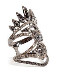 Nikos Koulis - 18kt Blackened Gold Spectrum Ring With Diamonds And Hematite - Lyst
