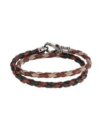 Tod's | Brown Braided Leather Wrap Bracelet for Men | Lyst