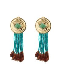 Aurelie Bidermann - Blue Earrings With Turquoise And Pheasant Feathers - Lyst