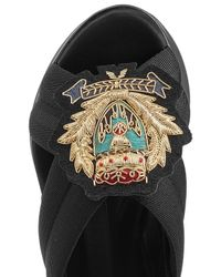 Burberry | Black Fabric Sandals With Embroidered Badge | Lyst