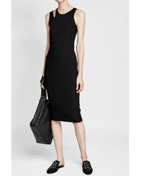 Helmut Lang | Black Slash Ribbed Dress | Lyst