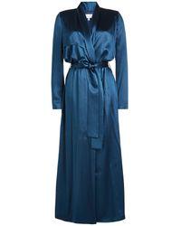 Galvan - Blue Satin Silk Coat - Lyst
