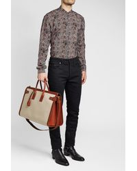 Saint Laurent - Multicolor Classic Linen Bag With Leather for Men - Lyst
