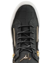 Giuseppe Zanotti - Black Croc-embossed Leather High-tops - Lyst