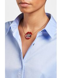 Marc Jacobs - Blue Crystal Encrusted Pendant Necklace - Lyst