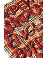 Burberry - Multicolor Graffiti Print Wool-silk Scarf - Lyst