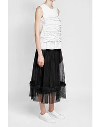 Simone Rocha - Black Sleeveless Cotton Top With Ruffles - Lyst