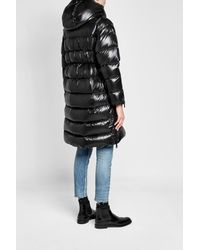 Moncler - Black Quilted Down Coat With Hood - Lyst
