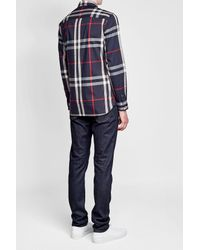Burberry - Blue Printed Shirt With Cotton for Men - Lyst