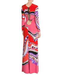 Emilio Pucci - Blue Printed Silk Maxi Dress - Lyst