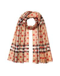 Burberry - Multicolor Printed Check Scarf In Mulberry Silk And Wool - Lyst