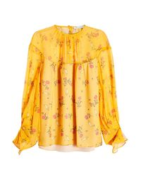 Emilia Wickstead - Yellow Printed Silk Blouse - Lyst