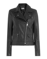 Karl Lagerfeld - Black Leather Biker Jacket With Embossed Motif - Lyst