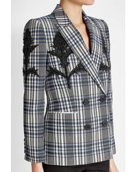 Alexander McQueen - Multicolor Embellished Virgin Wool Plaid Blazer - Lyst
