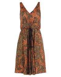 Lanvin | Brown Embroidered Dress With Silk | Lyst