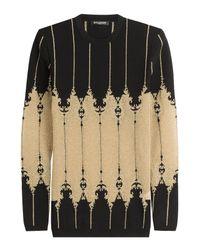 Balmain - Black Knit Pullover With Metallic Thread - Lyst