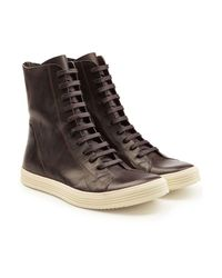 ee2090b758f Rick Owens Leather Boots in Brown for Men - Lyst