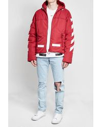 6c601977852b Lyst - Off-White c o Virgil Abloh Down Jacket With Hood in Red for Men