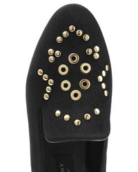 Burberry - Black Embellished Suede Slippers - Lyst