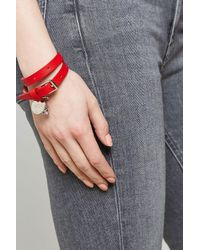 Alexander McQueen - Red Leather Wrap Bracelet - Lyst