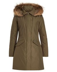 Woolrich - Multicolor Down Jacket With Fur-trimmed Hood - Lyst
