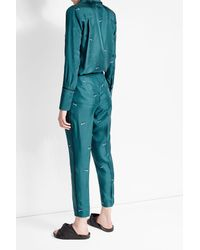 Victoria, Victoria Beckham - Blue Printed Silk Shirt With - Lyst