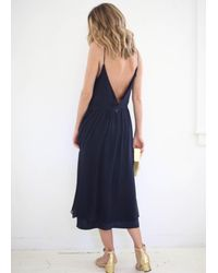 Kamperett | Blue Sade Silk Slip Dress Chiffon Overlay | Lyst