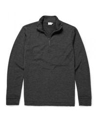 Sunspel   Gray Men's Vintage Wool Zip Neck Jumper In Charcoal Melange for Men   Lyst