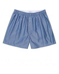 Sunspel - Men's Cotton Boxer Shorts In Large Herringbone Blue for Men - Lyst