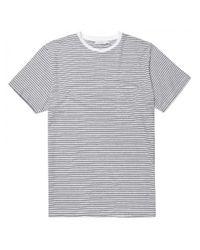 Sunspel | Men's Cotton Pocket T-shirt In White / Navy Twin Stripe for Men | Lyst