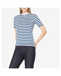 Sunspel | Women's Cotton Mid Sleeve T-shirt With Bold Stripe In Mid Blue | Lyst