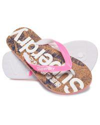 Superdry - Pink Printed Cork Flip Flop Flip Flops - Lyst