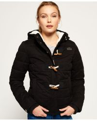 Superdry | Black Microfibre Toggle Puffer Jacket | Lyst