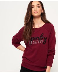 Superdry - Red Mimosa Applique Raglan Crew Jumper - Lyst