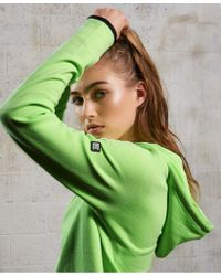Superdry Green Sport Gym Tech Luxe Crop Hoodie