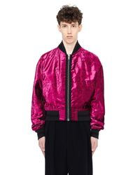 Haider Ackermann - Purple Velvet Striped Bomber Jacket for Men - Lyst
