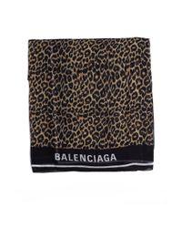 Balenciaga Black Leopard Print Logo Scarf