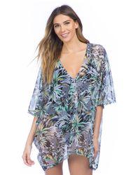 Kenneth Cole - Blue Palm Reading Kimono Sleeve Tunic Swim Cover Up - Lyst