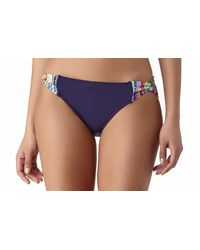 Anne Cole - Blue Braided Stripe Loop Side Bikini Swim Bottom - Lyst