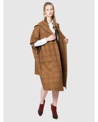 Roman - Brown Windowpane Plaid Poncho - Lyst